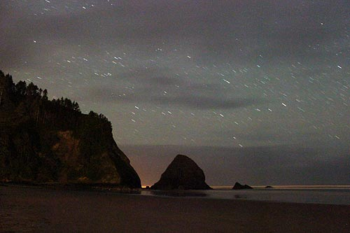 Arch Cape at night, near Cannon Beach