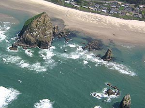 Cannon Beach, Haystack Rock aerial view
