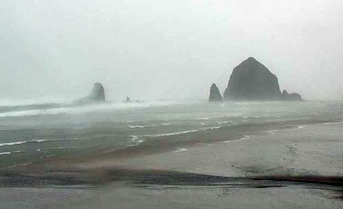 Photo above: a stormy Cannon Beach today, courtesy Tolovana inn