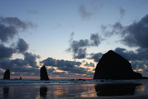 Cannon Beach, Haystack Rock spring sunset drama