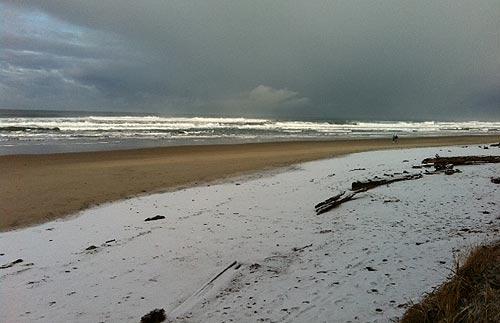 Snowy Oregon Coast Creates Eye Popping Views But Dangerous