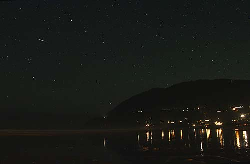 a celestial object streaking over Manzanita, north Oregon coast)