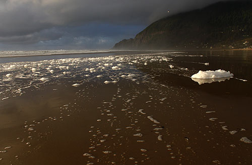Five Freaky Features of an Oregon Coast Winter You Don't Know About: huge foam at Manzanita