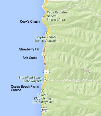 map of Strawberry Hill, Cape Perpetua, Bob Creek, Cook's Chasm