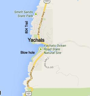 Map of Yachats, Oregon - Yachats Bay, Smelt Sands, 804 Trail