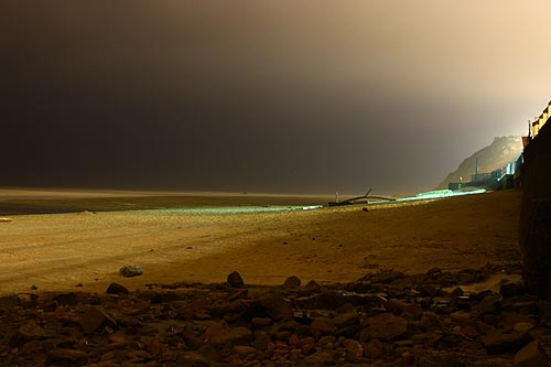 Strange Night Scenes Nye Beach Newport Oregon Coast