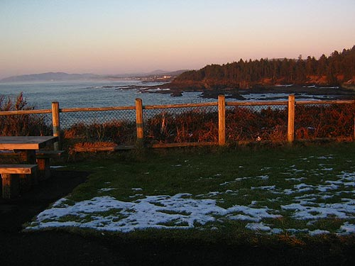 dustings of snow at Depoe Bay's Boiler Bay
