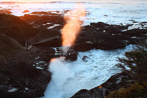 Where Sea Water Fires Into Air, Oregon Coast Spouting Horns